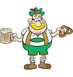 Cartoon man holding a beer and a pretzel vector