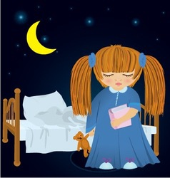 Cartoon sleepy girl near bed vector image