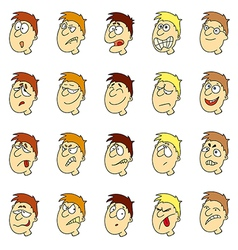 emotions in cartoon faces of boys vector image