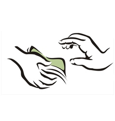 giving a money symbol vector image vector image