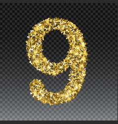 gold glittering number nine shining golden vector image