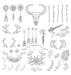 Hand drawn vintage rustic tribal collection vector