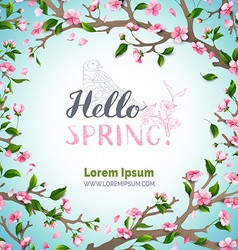 Hello spring template vector image vector image