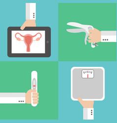 Medical gynecology and pregnancy flat design set vector