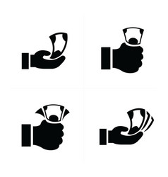 Money in the hand icons vector