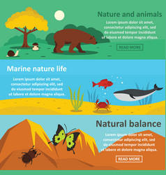 Nature animals banner horizontal set flat style vector