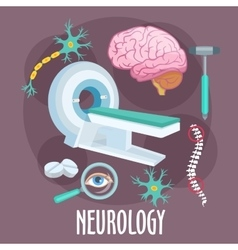 Neurology flat symbol with brain research icons vector image