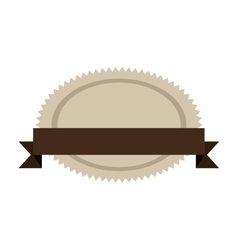 Oval jagged shape seal stamp with brown label vector