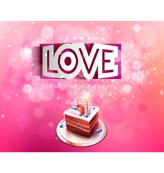 paper curved inscription love cut on a pink vector image