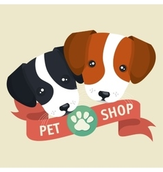 pet shop poster faces puppy design vector image