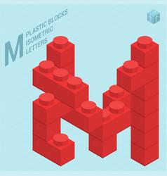 Plastic blocs e letter m vector