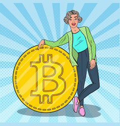 Pop art smiling woman with big bitcoin vector