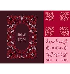 Retro vintage hispter monogram set line design vector image