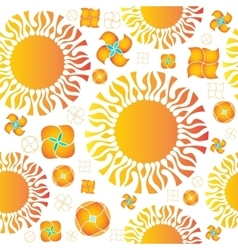Seamless pattern of orange sun and vector
