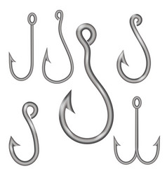 set of different steel hooks vector image vector image