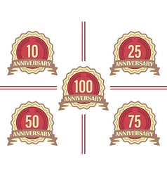 Set of labels for major anniversaries vector