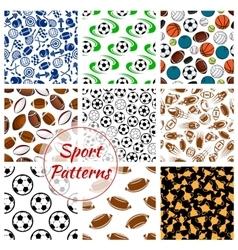 Sport balls fitness items seamless patterns set vector image