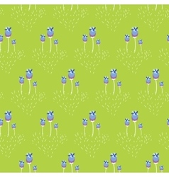 Spring wild violet flower field seamless pattern vector