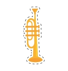 Trumpet instrument music wind dotted line vector