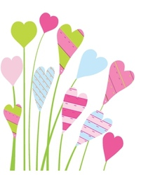 Valentines card with flowers and hearts vector image vector image