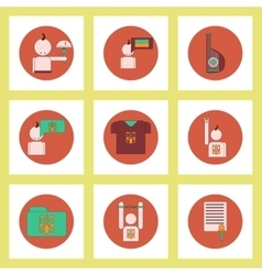 Collection of icons in flat style national vector image