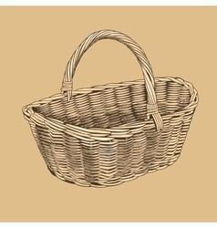 Vintage basket in woodcut style vector