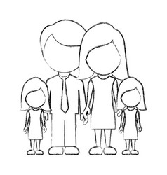 Figure family their girls twins icon vector