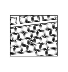 figure computer keyboard with recycle symbol icon vector image