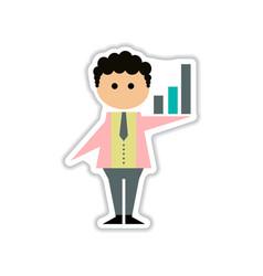 paper sticker on white background businessman vector image