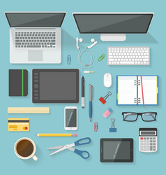 Workspace elements top view set vector