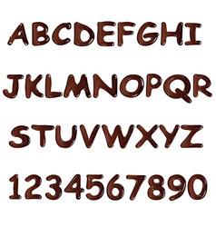 Latin alphabet made of dark melted chocolate vector