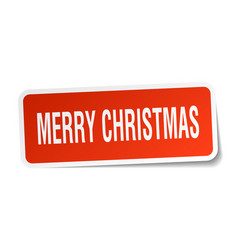 Merry christmas square sticker on white vector