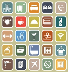 Hotel flat icons on yellow background vector