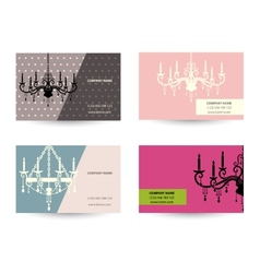 Set of business card template with chandelier vector