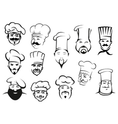 European american and asian chefs in toques vector