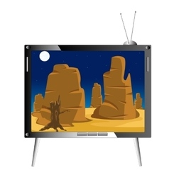 Television set shows nature vector
