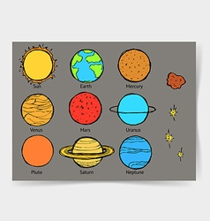 Sketch planets in vintage style vector