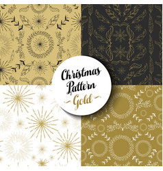 Merry christmas pattern set gold nature holiday vector
