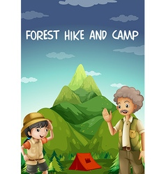 People camping out in the forest vector image