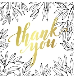 Thank you golden lettering design vector