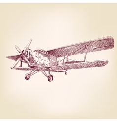 Airplane vintage hand drawn llustration vector