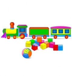 Toy train and blocks vector