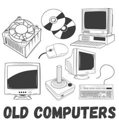 Set of electronic products and old vector