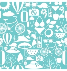Seamless pattern with stylized summer objects vector