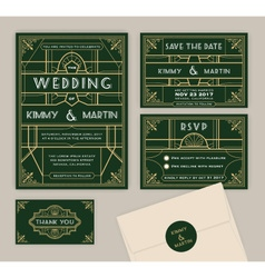 Emerald green art deco wedding invitation template vector