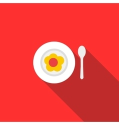 Baby plate and spoon icon flat style vector
