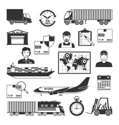 Logistic and delivery black icons set vector