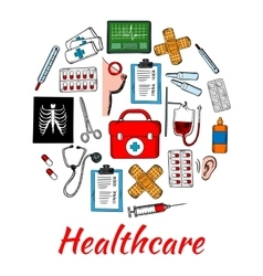 Medical and healthcare icons arranged into circle vector