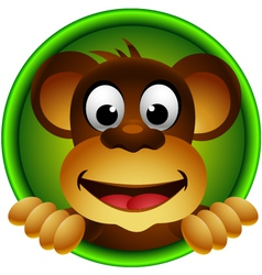 Cute monkey head cartoon vector