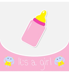 Baby bottle shower card its a girl vector
